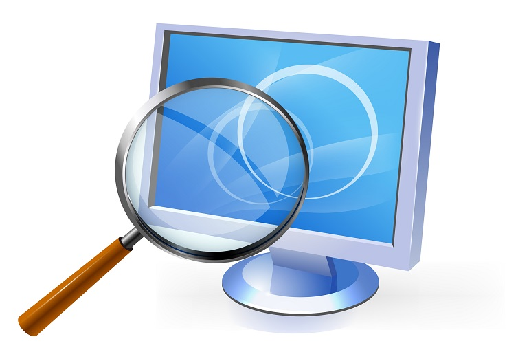 Illustration of magnifying glass and computer